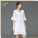 White Chiffon Skin Fabrics Girls Ladies Dress