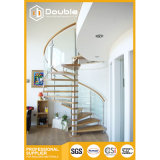Modern Design Wooden Spiral Staircase with Glass Railing