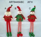 Christmas Decoration Figuine Dangle Legged Gifts-3asst