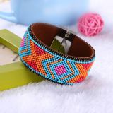 Fashion Beads Braided Magnetic Bangle Leather Bracelet Jewelry