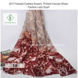 2017 Newest Cashew Flowers Printed Viscose Shawl Fashion Lady Scarf