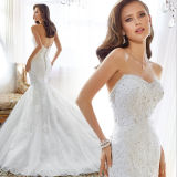 Mermaid Trumpet Sweetheart Lace Appliqued Spark Beading Bridal Dress