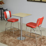 Artificial Leather High Bar Chairs and Bentwood Table with Stainless Steel Leg (SP-CT847)