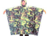 Military Camouflage Polyester PU Coating Waterproof Poncho
