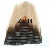 Two Tone Color Natural Drawn Russian Hair Clip in Human Hair Extension