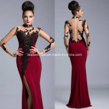 High Neck Evening Dress Illusion Long Sleeve Lace Long Party Prom Dresses B15