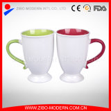 Wholesale  2-Tone Colors Mugs in Valentine Handle Design