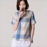 Plus Size Linen Plaid Shirt for Ladies with Round Neck