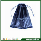Factory Price Simple Design Blue Satin Drawstring Pouch