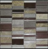 Random Strip Marble Mixed Glass Mosaic Tile