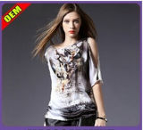 Fashion Sexy Cotton Printed T-Shirt for Women (W276)