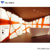 Small Curved White Lighted Acrylic Solid Surface Reception Desk Design (TW-PART-061)