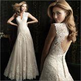 Unique Lace Bodice Sleeveless Scalloped Neck Wedding Dress with Decorated Hemline