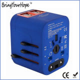 Blue Color Unversal Travel Adapter with Quad USB Ports (XH-UC-014)