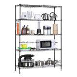 Black Powcder Coated Metal Wire Shelving 5 Tier Adjustable Utensil Storage Kitchen Rack