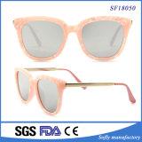 Pink Pattern Cat Eyes Frame Metal Temple Sunglasses