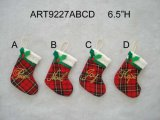 "6.5""H Plait Stocking with Letters-4asst-Christmas Decoration"