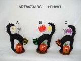 "11""Hx8""L Black Cat+Pumpkin Card Holder-Halloween Decoration"