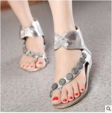Women Summer Pinch Feet Diamond Beaded Chain Flat Sandals