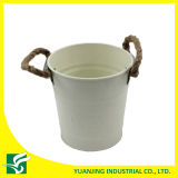 Home Garden Metal Zinc Bucket with Hemp Rope Handle