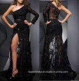 One Shoulder Prom Dresses Black Lace Formal Gowns Sexy Tulle Evening Dress Z219