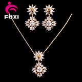Flower Design Pendant Earring Wedding Bridal Jewelry Set