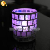 Glass Metallic Laster Candle Holder with China Crystal Candle Holder