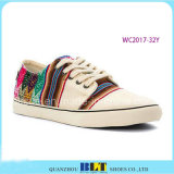 Women Canvas Shoes with Colourfule Strip Printed