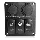 Newest 12V 3 Gang LED Rocker Switch + 4 LED USB Socket Panel Marine Boat RV Breaker