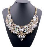Fashion Diamond Crystal Alloy Flower Statement Choker Necklace Jewelry