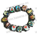 Black Catholic Wood Bead with Changeable Saint Picture Rosary Bracelet
