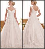 Cap Sleeves Bridal Gowns Lace Tulle Wedding Gown D1919