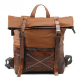 Cow Leather Handbag and Canvas Man Fashion Backpack (RS-1008-H)