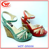 Hot Sale Ladies Flip Flops High Slope Heel Sandals for Women