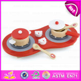 High Quality Role Play Game Cute Red Wooden Kitchen Toy for Children W10d110