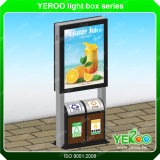 Outdoor Double Side Solar Powered Advertising Display LED Mupis with Rubbish Bin