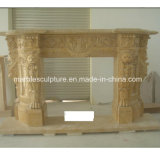 High Quality Beige Stone Sculpture Marble Fireplace (SY-MF170)