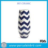 Stripe Galzed Ceramic Tall Vase