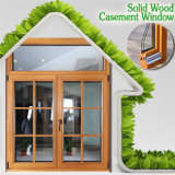 High Quality Solid Wood Casement Window with Grille Design, Perfect Aluminum Red Oaken Wood Casement Windows