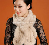 2014 New Hand-Made Knitting Real Rex Rabbit Fur Scarf (Qy-Ss2)