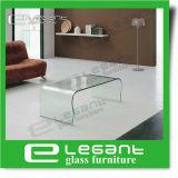 Round Corner Bent Glass Coffee Table with Beveled Edge