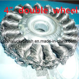 """4"""" Steel Wire Double Wheel Brush (YY-302)"""