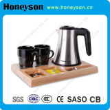 Hotel Appliance Stainless Steel Electric Kettle Wood Tray Set