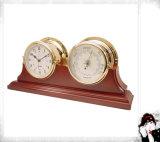 Nautical Clock Double Mahogany Finish