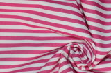 Rose/White Stripes 60 Cotton 40 Polyester Twill Yarn Dyed Fabric