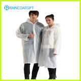Transparent White 100% PVC Rain Poncho (RVC-128)