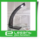 Grey Bent Glass Table Lamp with Ue Power