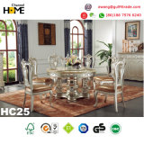 European Antique Style Round Dining Table with Marble (HC22)