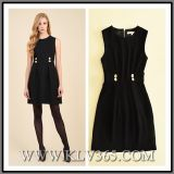 Fashion Black Ladies Winter High Waisted Sleeveless Sweet Party A-Line Dress