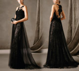 Stock Prom Dresses Lace Tulle Beading Party Evening Dress E1784